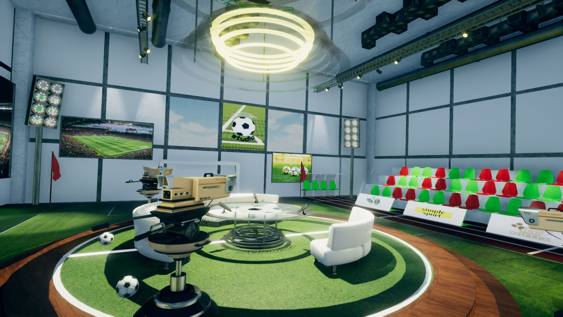 An image showing Soccer Studio Set asset pack, created with Unity Engine.