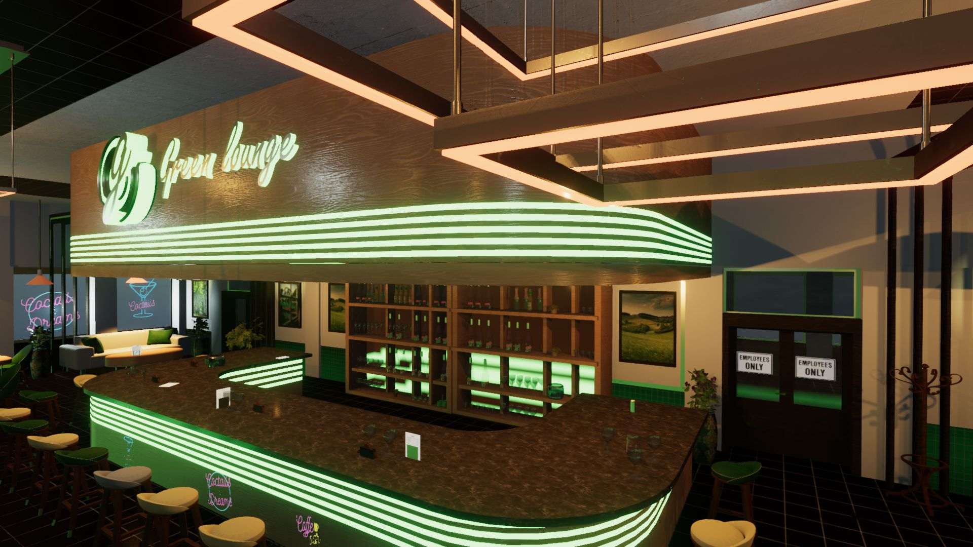 An image showing Green Lounge asset pack, created with Unity Engine.