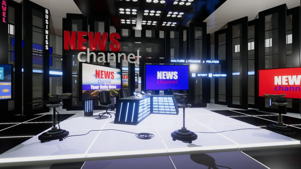 An image showing News Channel TV Studio asset pack, created with Unreal Engine.