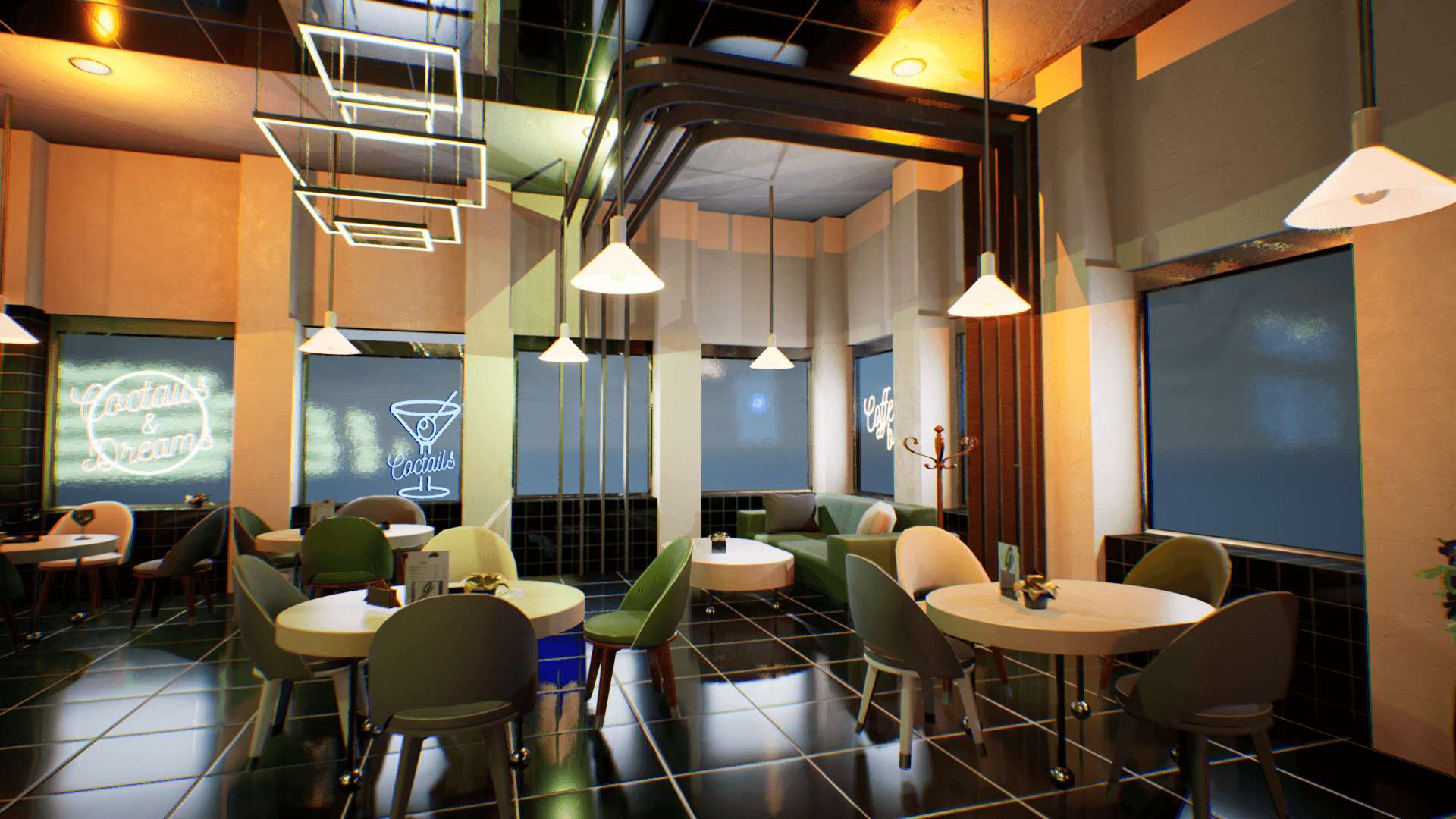 An image showing Green Lounge asset pack, created with Unreal Engine.