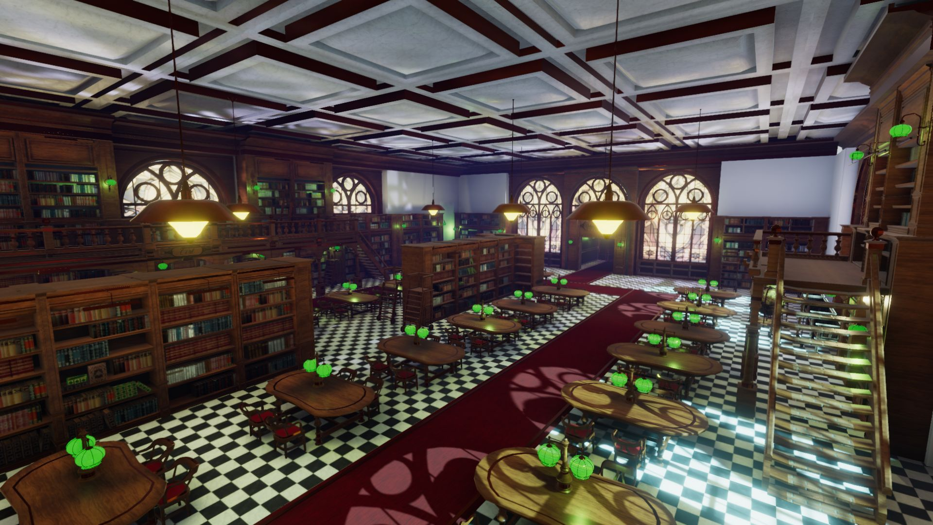 An image showing National Library asset pack, created with Unity Engine.